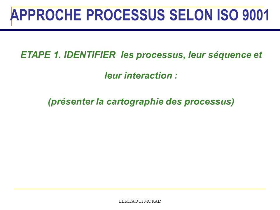 APPROCHE PROCESSUS SELON ISO 9001