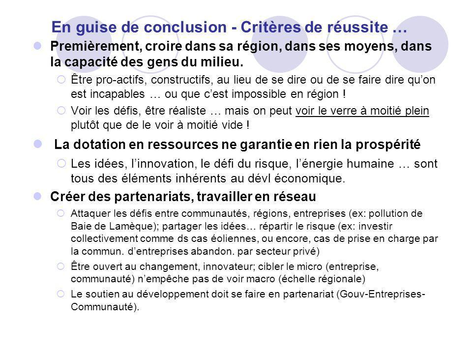 En guise de conclusion - Critères de réussite …