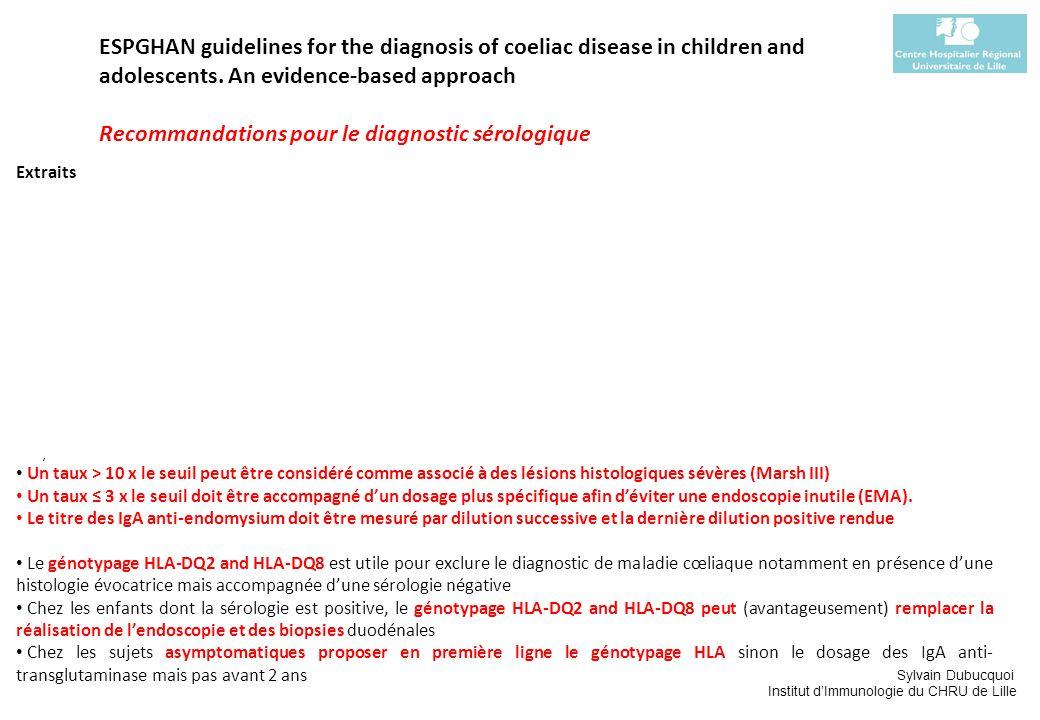 Recommandations pour le diagnostic sérologique
