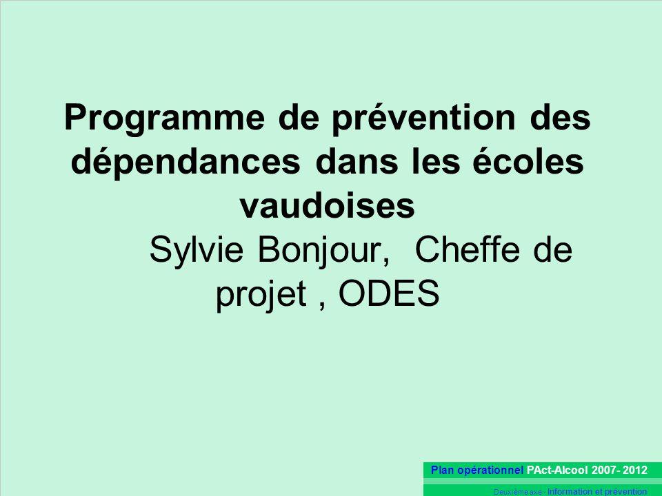 Programme de prévention des dépendances dans les écoles vaudoises