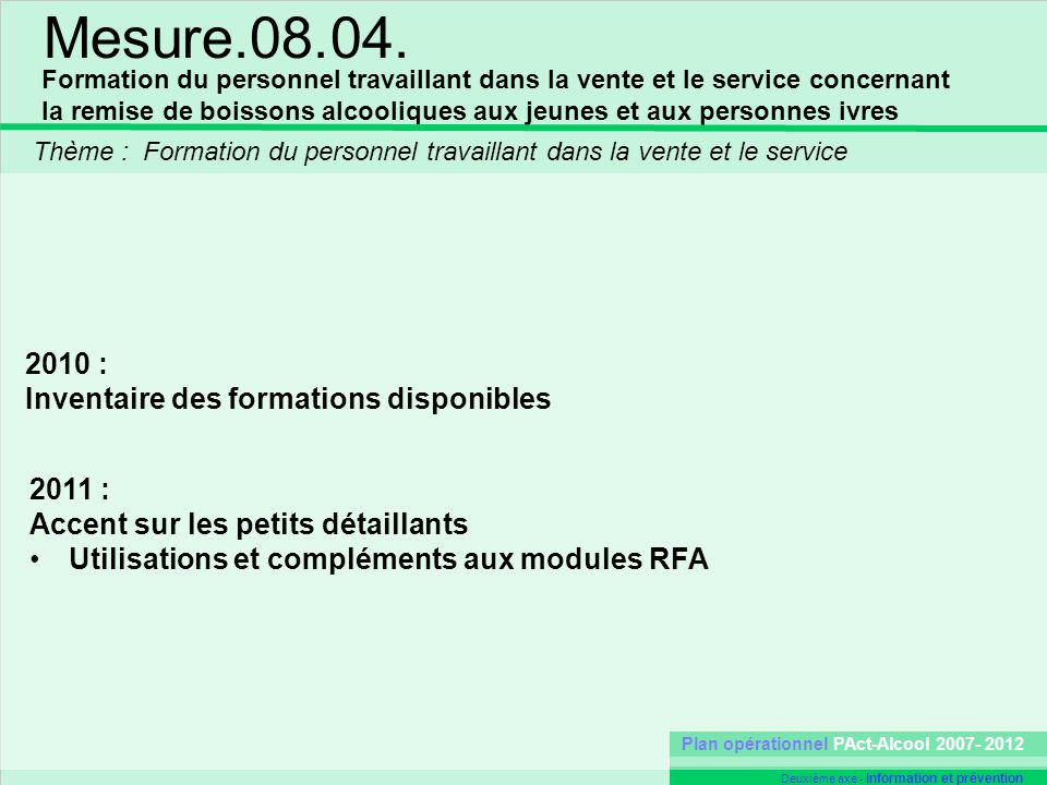 Mesure.08.04. 2010 : Inventaire des formations disponibles 2011 :