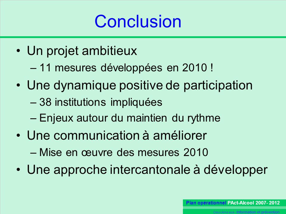 Conclusion Un projet ambitieux Une dynamique positive de participation