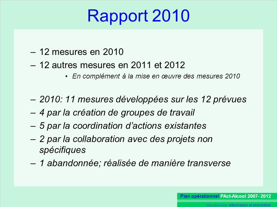 En complément à la mise en œuvre des mesures 2010