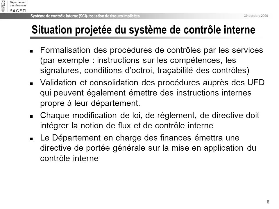 Situation projetée du système de contrôle interne