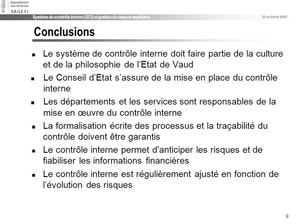 Conclusions Le système de contrôle interne doit faire partie de la culture et de la philosophie de l'Etat de Vaud.