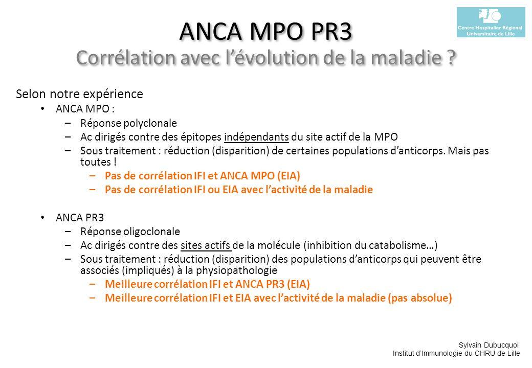 ANCA MPO PR3 Corrélation avec l'évolution de la maladie