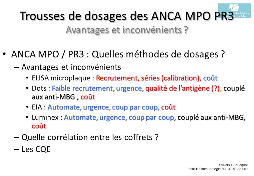 Trousses de dosages des ANCA MPO PR3 Avantages et inconvénients