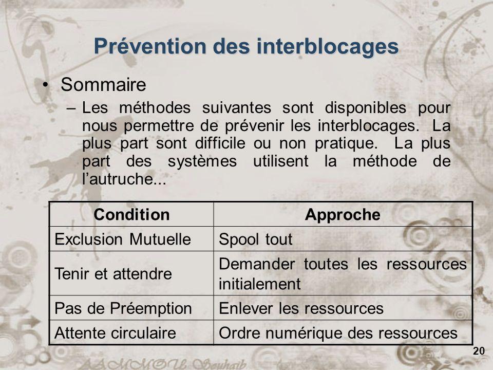 Prévention des interblocages
