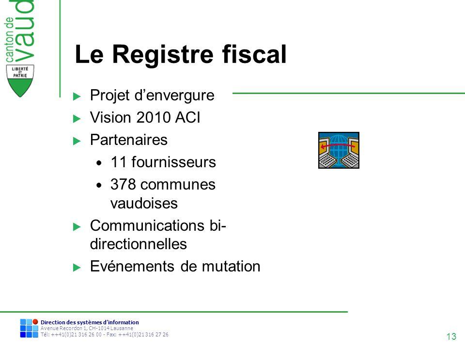Le Registre fiscal Projet d'envergure Vision 2010 ACI Partenaires