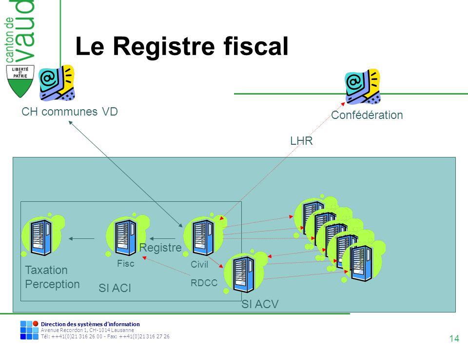 Le Registre fiscal CH communes VD Confédération LHR Registre Taxation