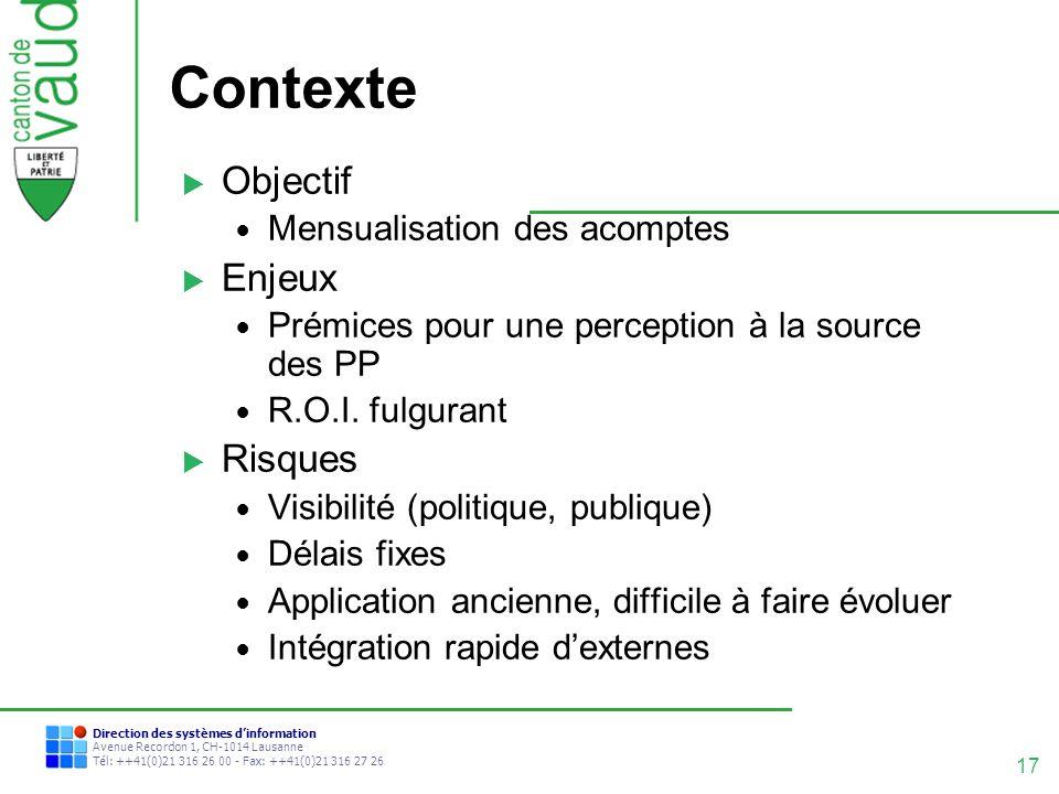 Contexte Objectif Enjeux Risques Mensualisation des acomptes