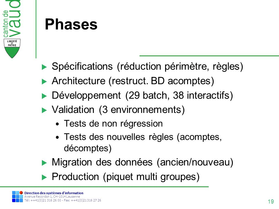 Phases Spécifications (réduction périmètre, règles)
