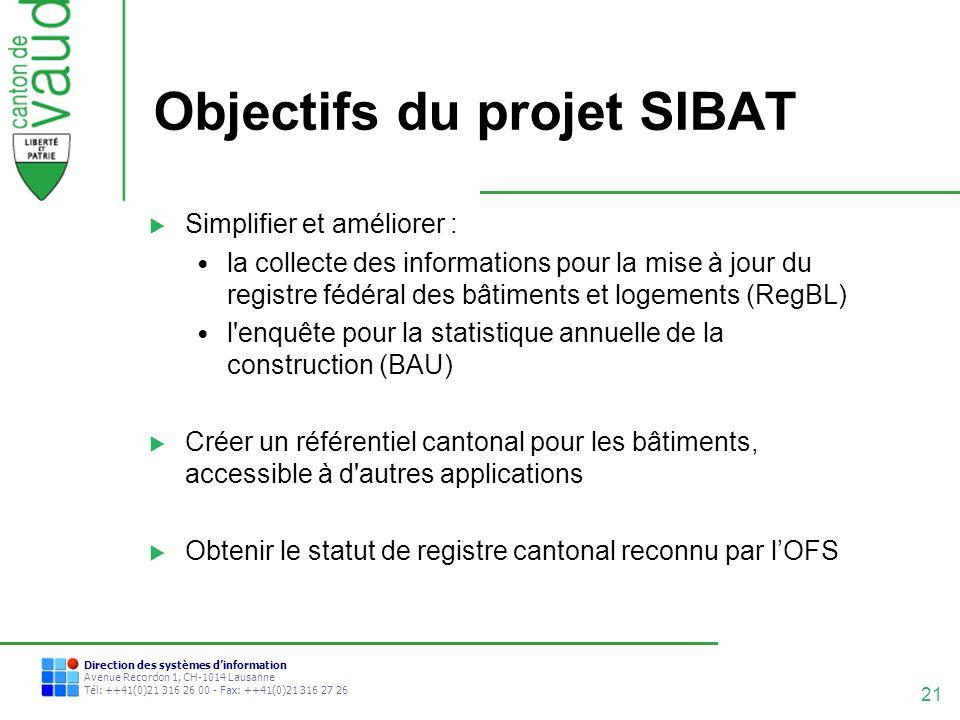 Objectifs du projet SIBAT