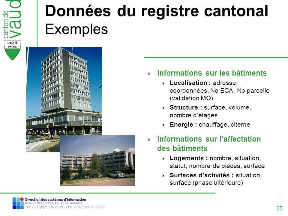 Données du registre cantonal Exemples