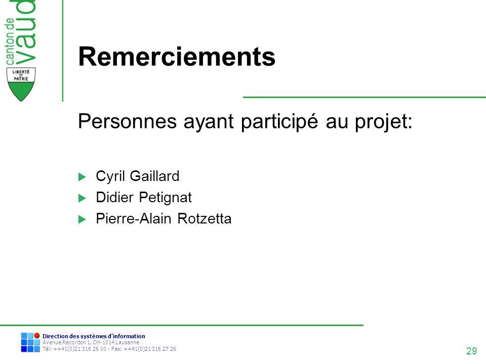 Remerciements Personnes ayant participé au projet: Cyril Gaillard