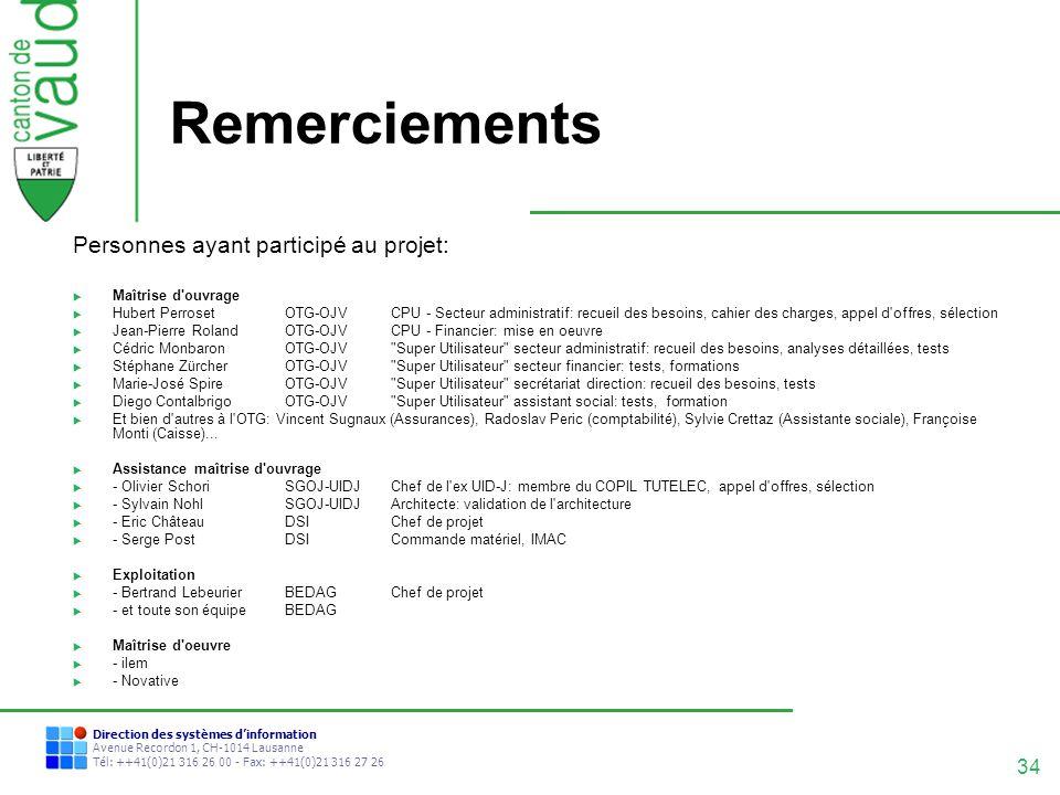 Remerciements Personnes ayant participé au projet: Maîtrise d ouvrage