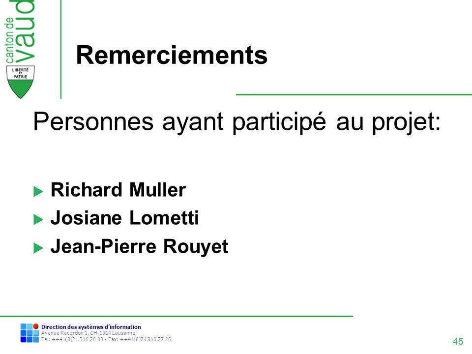 Remerciements Personnes ayant participé au projet: Richard Muller