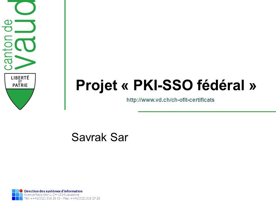 Projet « PKI-SSO fédéral »