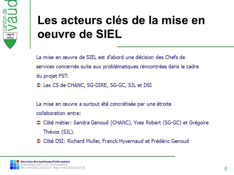 Les acteurs clés de la mise en oeuvre de SIEL