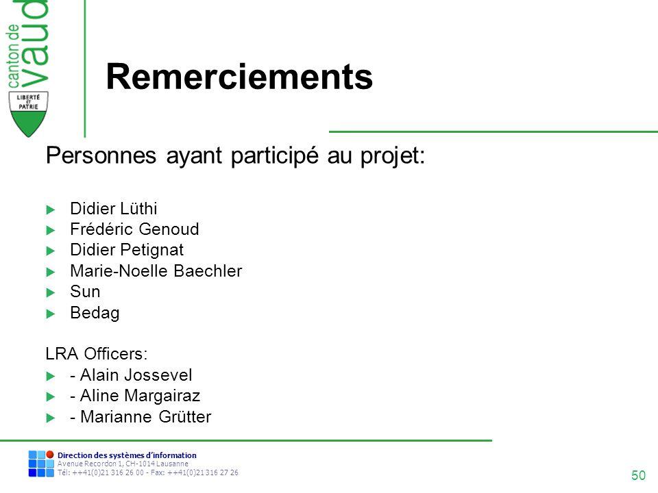 Remerciements Personnes ayant participé au projet: Didier Lüthi