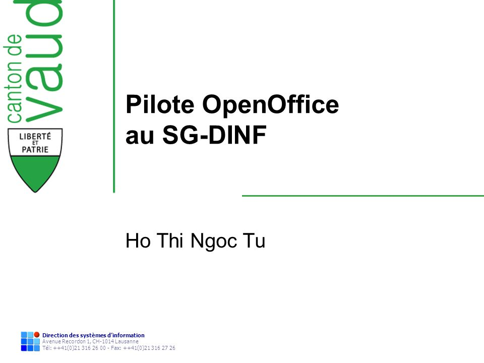 Pilote OpenOffice au SG-DINF