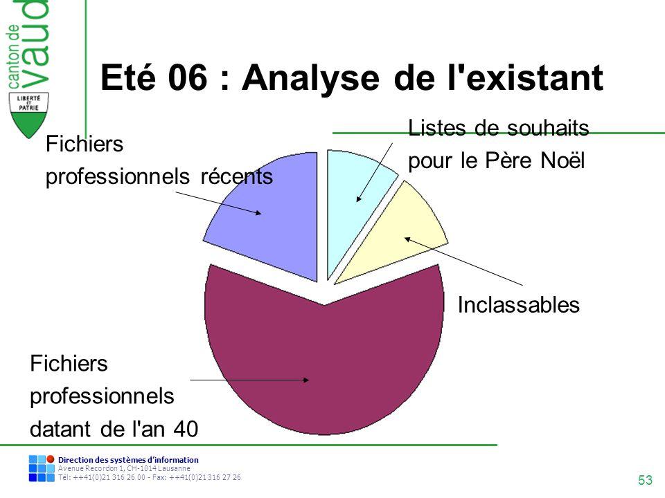Eté 06 : Analyse de l existant