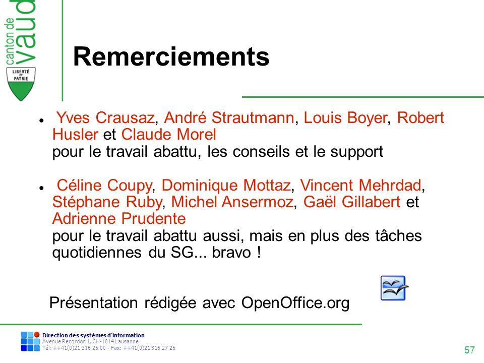 Remerciements Yves Crausaz, André Strautmann, Louis Boyer, Robert Husler et Claude Morel pour le travail abattu, les conseils et le support.