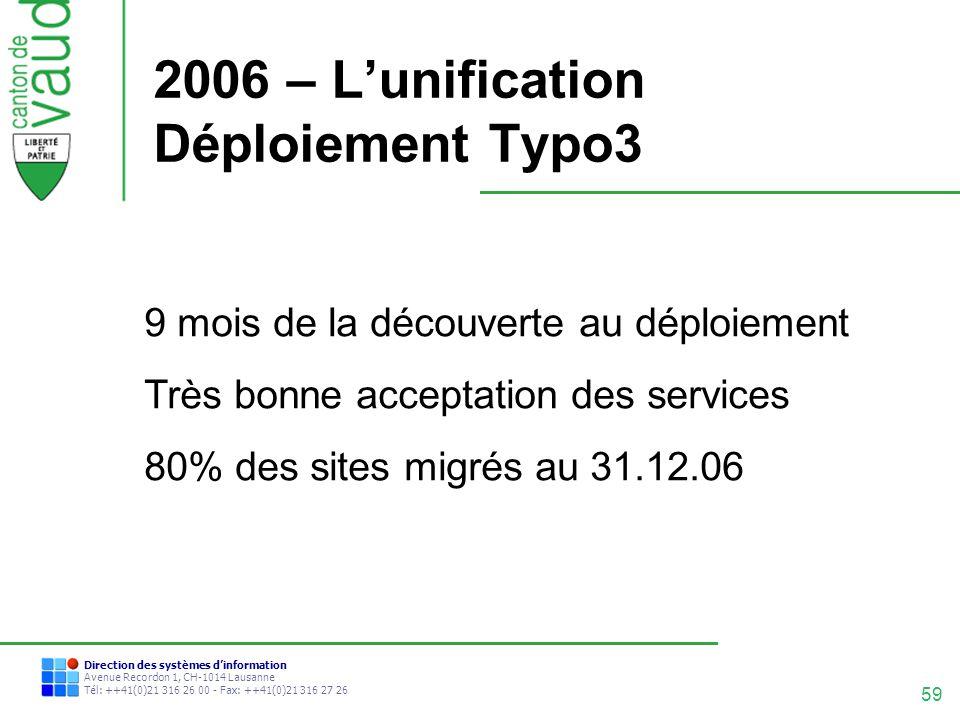 2006 – L'unification Déploiement Typo3