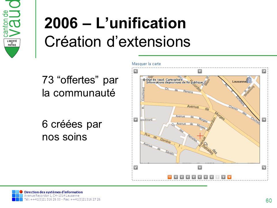 2006 – L'unification Création d'extensions