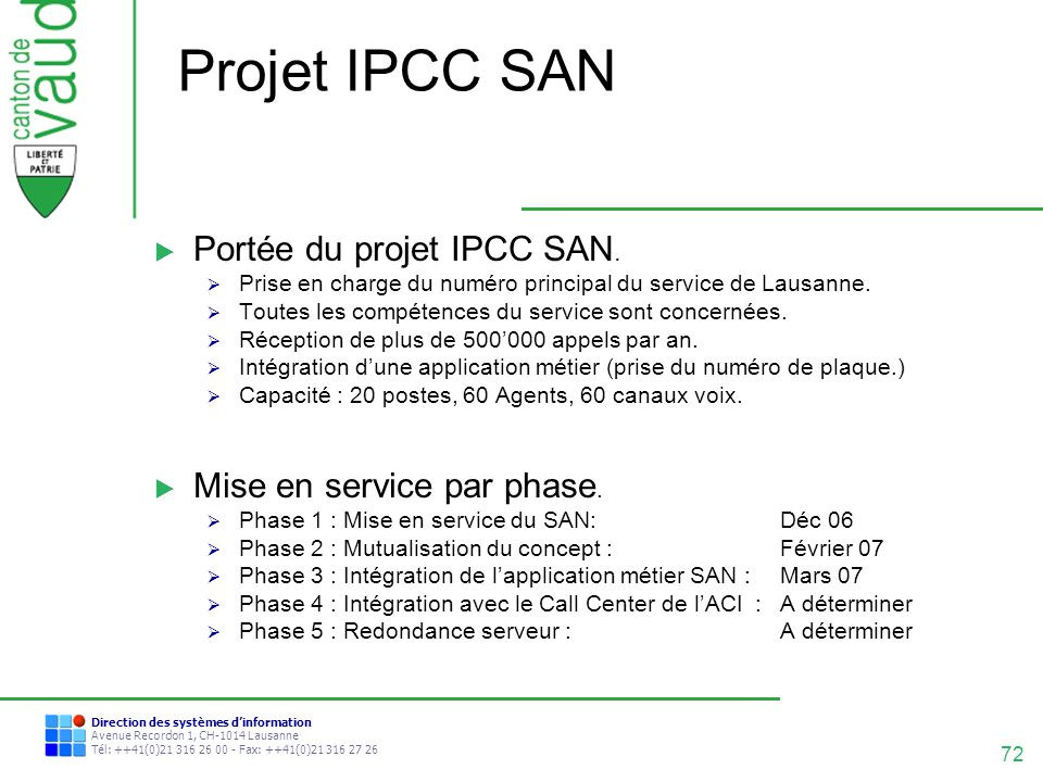 Projet IPCC SAN Portée du projet IPCC SAN. Mise en service par phase.