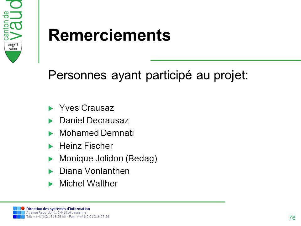 Remerciements Personnes ayant participé au projet: Yves Crausaz