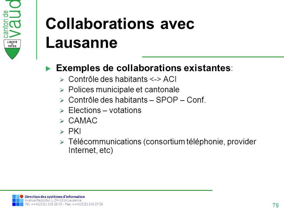 Collaborations avec Lausanne