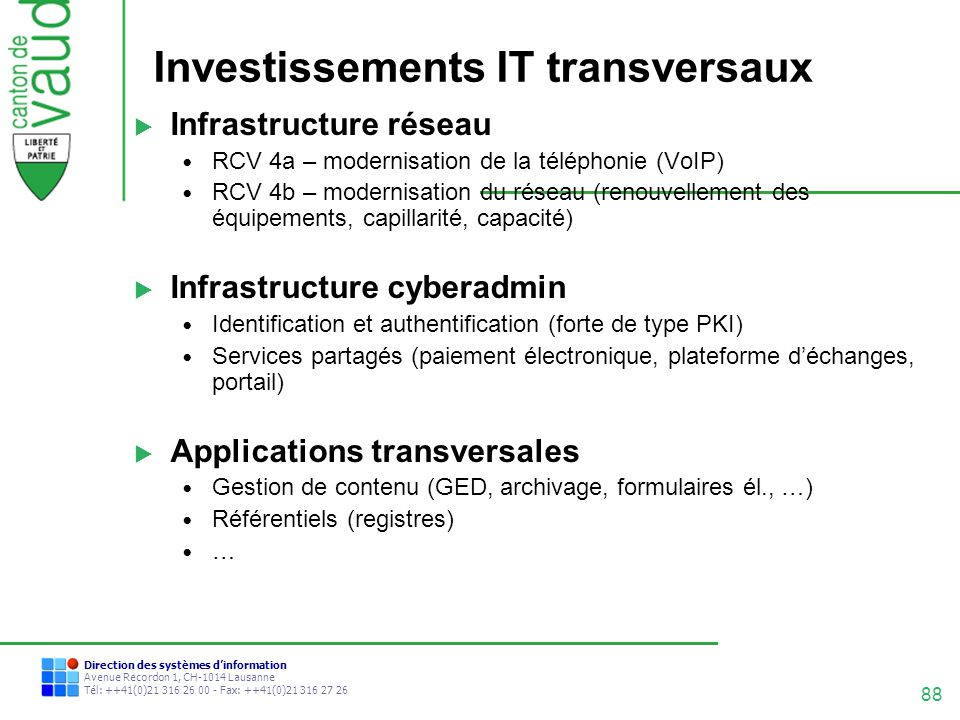 Investissements IT transversaux