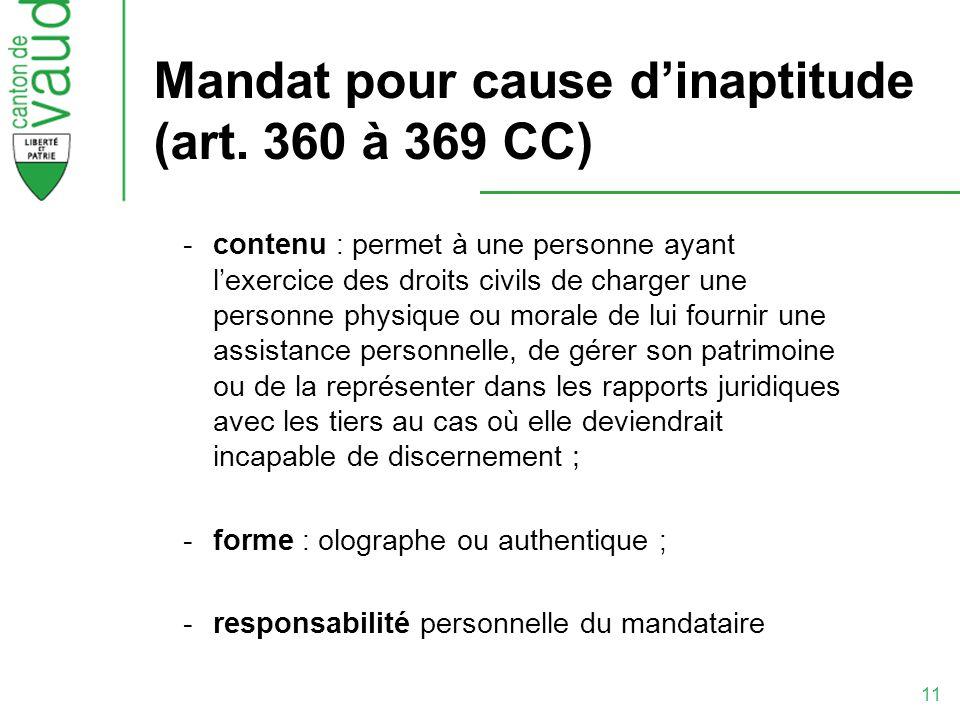 Mandat pour cause d'inaptitude (art. 360 à 369 CC)