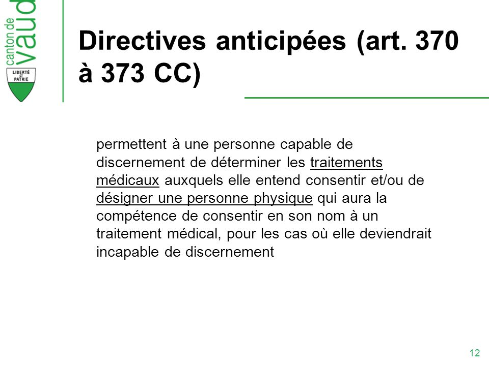Directives anticipées (art. 370 à 373 CC)