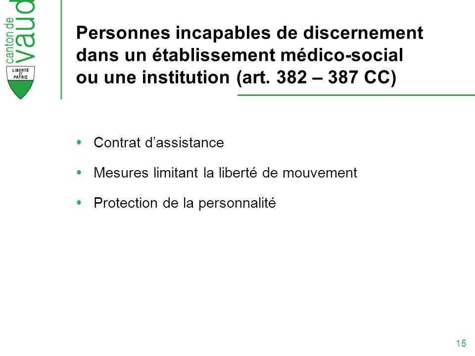 Personnes incapables de discernement dans un établissement médico-social ou une institution (art. 382 – 387 CC)