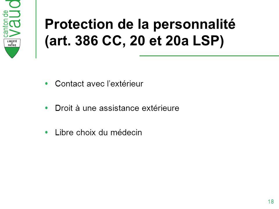 Protection de la personnalité (art. 386 CC, 20 et 20a LSP)