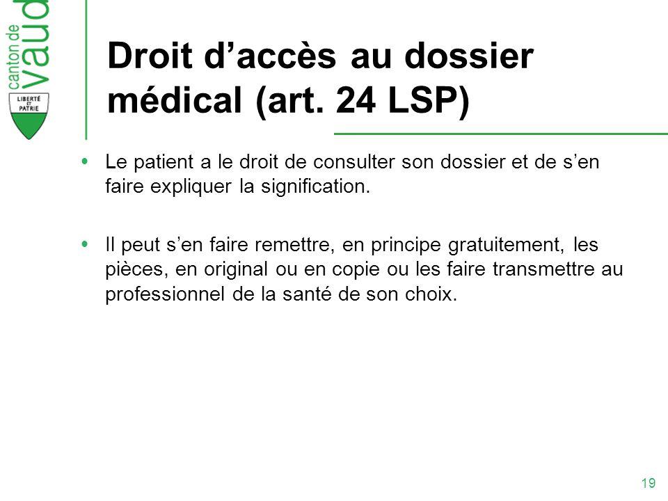 Droit d'accès au dossier médical (art. 24 LSP)