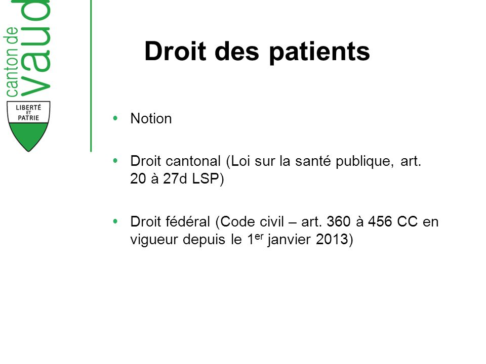 Droit des patients Notion