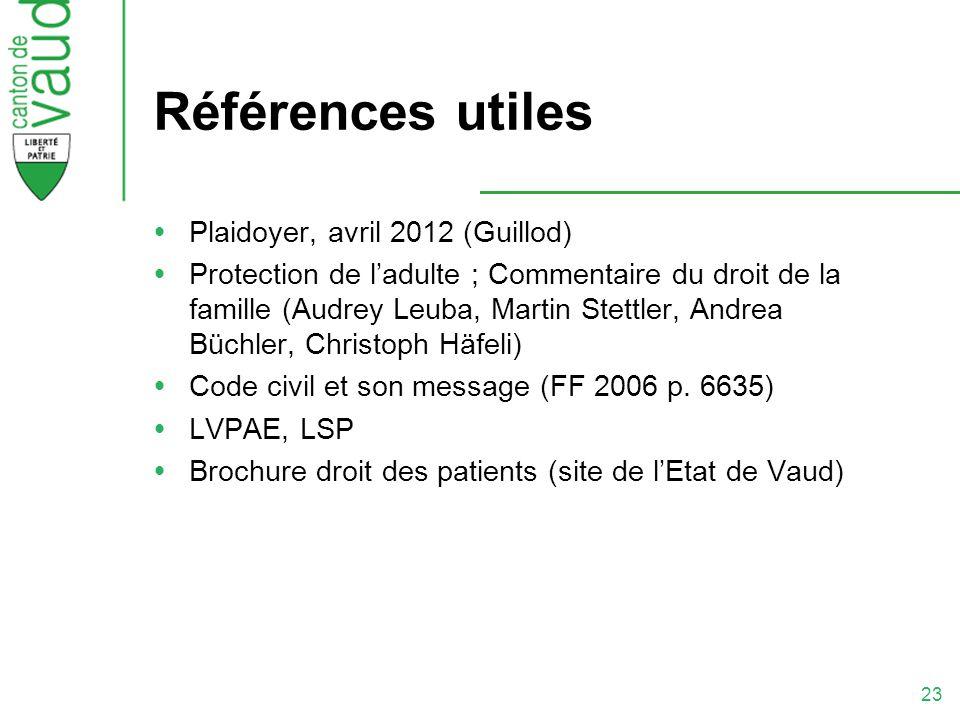 Références utiles Plaidoyer, avril 2012 (Guillod)