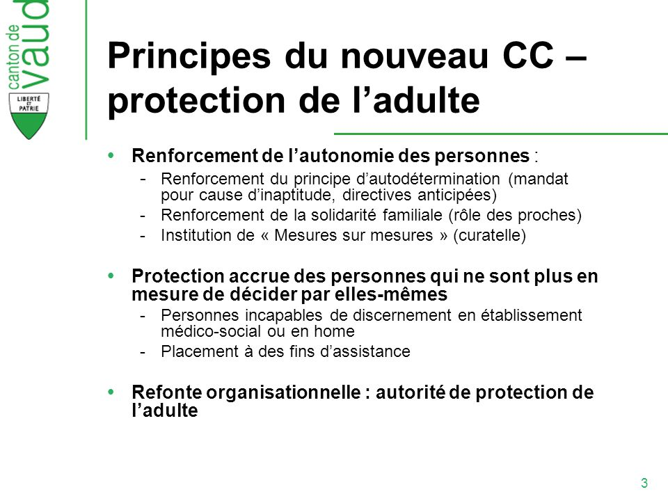 Principes du nouveau CC – protection de l'adulte