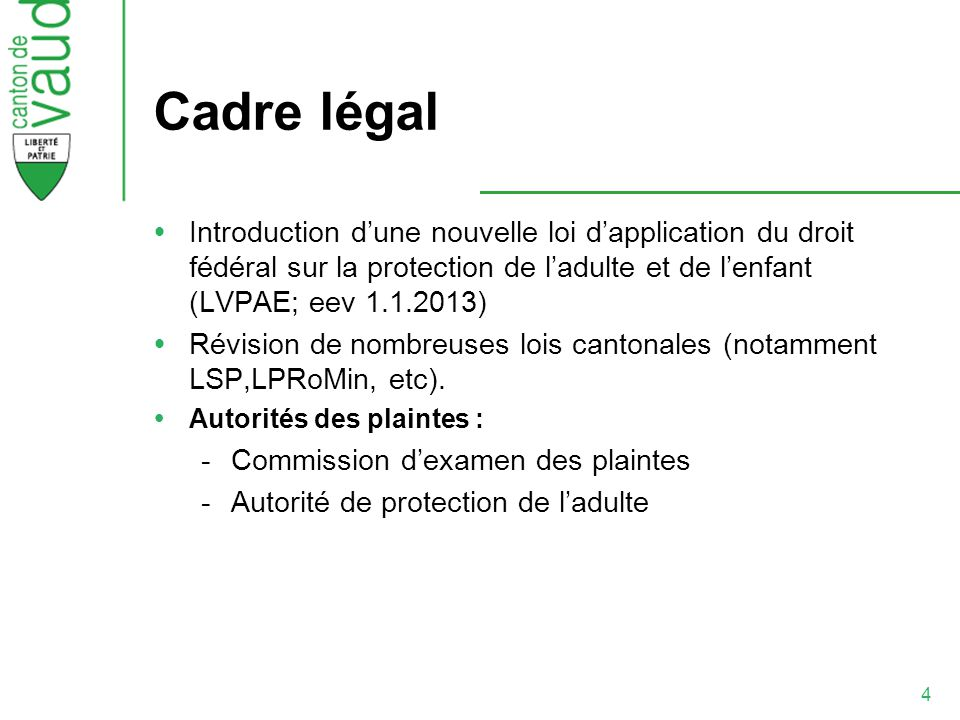 Cadre légal Introduction d'une nouvelle loi d'application du droit fédéral sur la protection de l'adulte et de l'enfant (LVPAE; eev 1.1.2013)