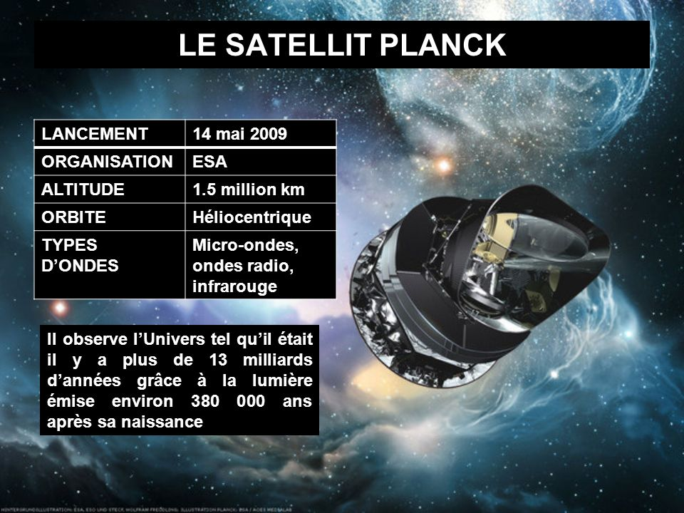 LE SATELLIT PLANCK LANCEMENT 14 mai 2009 ORGANISATION ESA ALTITUDE