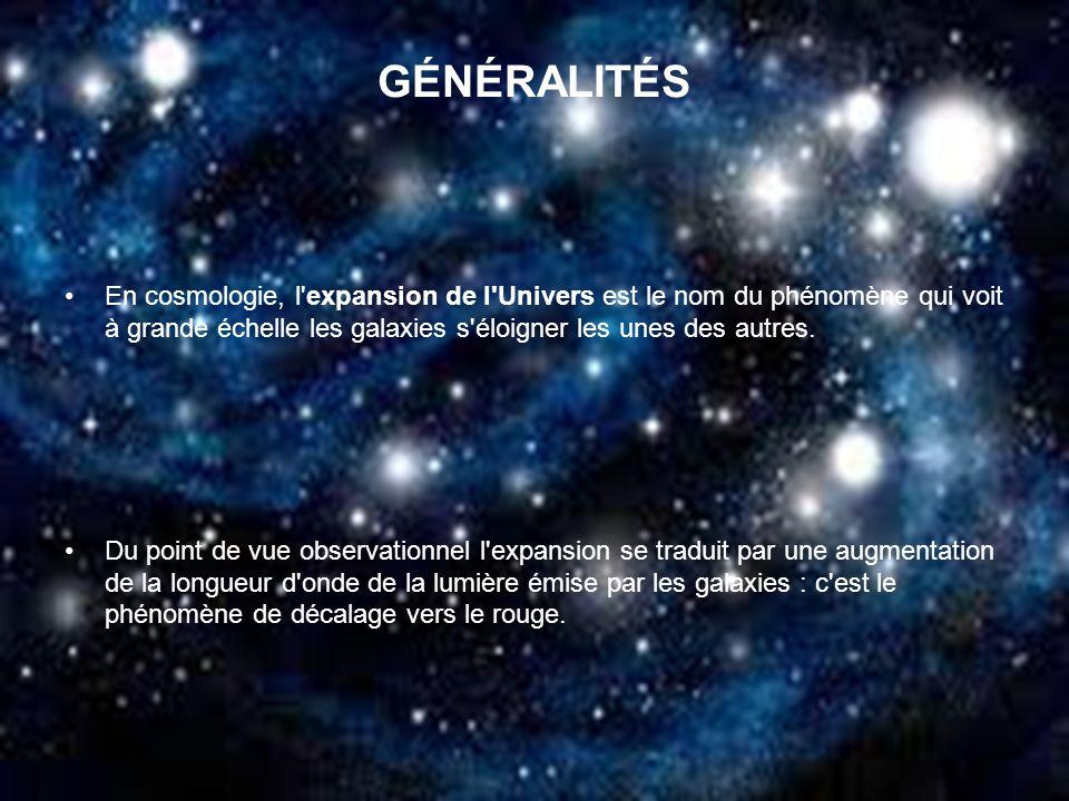 GÉNÉRALITÉSEn cosmologie, l expansion de l Univers est le nom du phénomène qui voit à grande échelle les galaxies s éloigner les unes des autres.