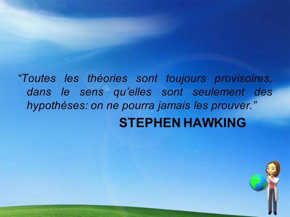 Toutes les théories sont toujours provisoires, dans le sens qu'elles sont seulement des hypothèses: on ne pourra jamais les prouver.