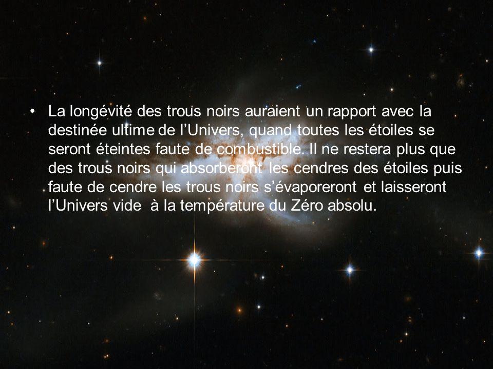 La longévité des trous noirs auraient un rapport avec la destinée ultime de l'Univers, quand toutes les étoiles se seront éteintes faute de combustible.