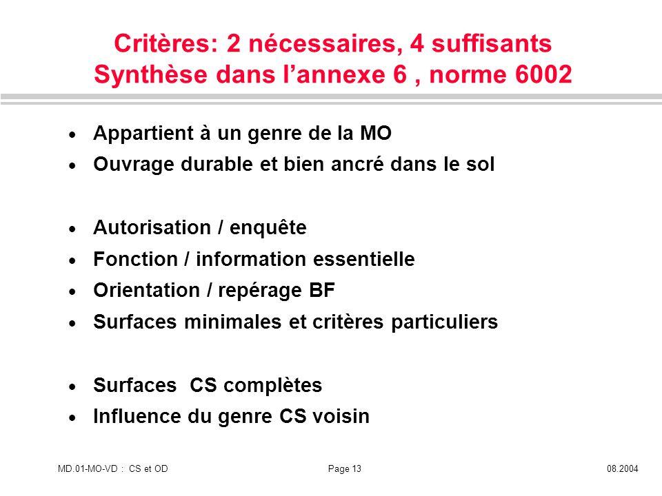 Critères: 2 nécessaires, 4 suffisants Synthèse dans l'annexe 6 , norme 6002