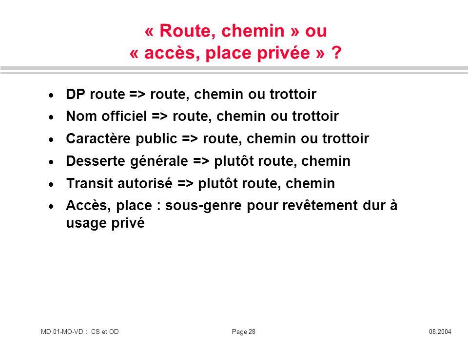« Route, chemin » ou « accès, place privée »