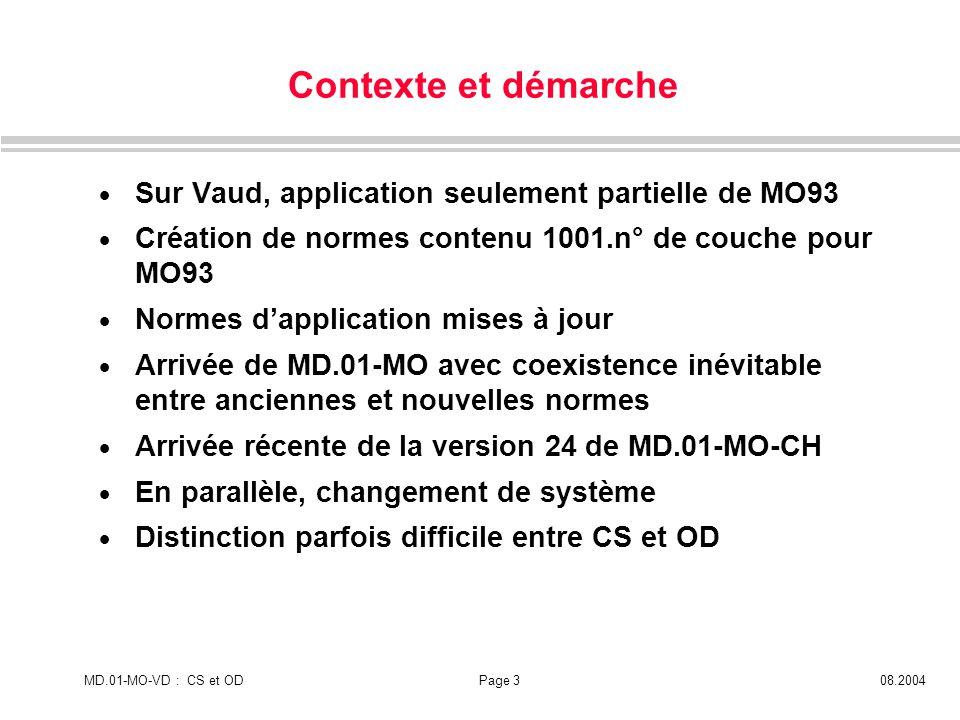 Contexte et démarche Sur Vaud, application seulement partielle de MO93
