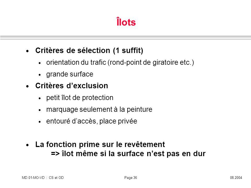 Îlots Critères de sélection (1 suffit) Critères d'exclusion